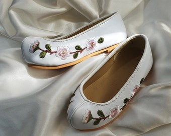 130~140mm, White Floral Embroidery Baby Girl Hanbok shoes, Dol, Baby Hanbok, Dohl Korean