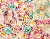 Spring Flower wall Digital Backdrop Bundle, Floral Newborn Backdrop Bundle, Natural Rose flower photography background