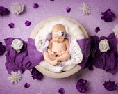 Purple and White Flower Newborn Digital Backdrop, High quality digital background for girls