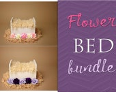 Bed and Flowers Digital Backdrop Bundle, Digital Backdrop Newborn Digital Background, Newborn Photo Prop, Newborn Backdrop