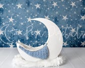 Digital Backdrop With Stars, Newborn Digital Backdrop, White Moon Backdrop, Natural Backdrop, Newborn, Moon Backdrop, Backdrop With Stars