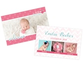 Pink newborn birth announcement template, newborn baby announcement card