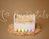 Easter Digital Backdrop Newborn Background White Wooden Bed, Natural Colors Easter Backdrop Eggs