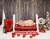 Christmas Digital Newborn Backdrop, White wooden bed photography background