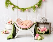 White curved chair digital backdrop newborn, Spring digital background, Newborn photography vintage floral backdrop, Flower digital backdrop