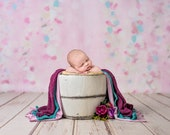 Digital Newborn Backdrop with White bucket, Purple and pink digital photography background with purple rose flowers