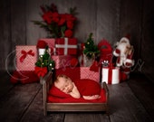 Christmas Digital Newborn Backdrop, Gift boxes and Santa background for newborn boy or girl, brown background and christmas scenery