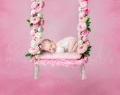 Newborn photography backdrop swing Floral swing newborn digital backdrop Pink rose swing newborn digital background  Flower digital backdrop