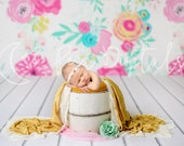 Spring Theme Digital Backdrop Newborn Background White Bucket, Natural Colors Flower Background, Wooden bucket photo prop Infant backdrop