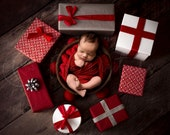Christmas digital Newborn Backdrop from top view, Digital background with wooden bucket and gifts, for girl and boy photography