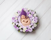 Purple floral nest Newborn digital backdrop, Digital background flower, Boy and Girl Digital photography backdrop, Newborn Flower Backdrop