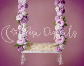 Newborn photography backdrop swing Floral newborn digital composite backdrop Purple rose swing newborn digital background Flower backdrop