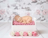 White wooden bed newborn digital backdrop Flower backdrop newborn Digital background Summer backdrop Wooden Flower newborn digital backdrop
