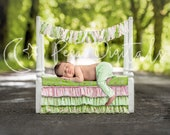 Newborn digital backdrop white wooden bed, Outdoor backdrop girl boy, Digital background natural theme, Wooden bed newborn photo prop Nature
