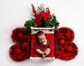 Christmas Theme digital Newborn Backdrop, Digital background with white wooden bed Christmas ornaments and bouquet, girl and boy photography