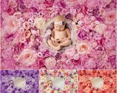 Flower wall Digital Backdrop Bundle, Floral Newborn Backdrop Bundle, Natural Rose flower photography background