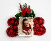 Christmas Theme digital Newborn Backdrop, background with white wooden bed, faux fur, Christmas ornaments and bouquet, girl and boy backdrop