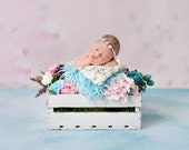 Spring Theme Digital Backdrop Newborn Background White Bucket, Flower Background, Wooden box photo prop Infant backdrop