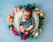 Floral Digital Newborn Backdrop, wooden bowl with flowers and sky background