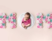 Newborn digital backdrop MOM sign, Floral letter Backdrop, Mother's day background, Flower letter digital photo prop, Photoshop background