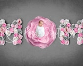 Blush pink MOM sign newborn digital backdrop, Mother's day background, Floral letter Backdrop, Flower letter, Photoshop background