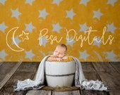 Newborn Digital Backdrop Newborn Bucket Stars Newborn Background Bucket, Orange digital background stars, White Wooden bucket newborn photo