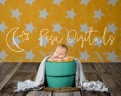 Newborn Digital Backdrop Newborn Bucket Stars Newborn Background Bucket, Orange digital background stars, Wooden bucket newborn photo prop
