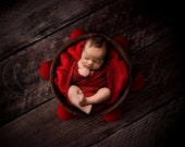 Digital Newborn Backdrop for Christmas, Digital background with wooden bucket red fabric and ornaments, for boy and girl photography