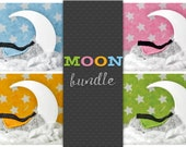Moon Digital Backdrop Newborn Bundle, White Moon Digital Backgrounds, Newborn Digital Photo Prop, Digital backdrops Newborn Boy Girl