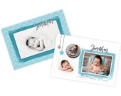 Blue and gray newborn birth announcement template, newborn baby announcement card