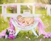 White Curved Chair Newborn Digital Backdrop, Summer and Spring Theme Flower Backdrop
