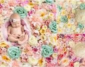 Spring Flower wall Digital Backdrop Bundle, Floral Newborn Backdrop Bundle, Natural Rose flower photography background