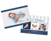 Boy birth announcement card template, nautical theme, newborn baby announcement card, birth announcement template
