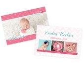 Pink newborn birth announcement template, newborn baby announcement card