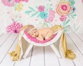White Curved Chair Newborn Digital Backdrop, Easter Theme Flower Backdrop Digital Newborn Background Wooden newborn photo prop