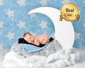 Newborn digital backdrop with white moon and stars