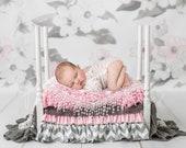 Newborn Digital Backdrop, Newborn Backdrop with White Wooden Bed, Natural Backdrop, Newborn photography, Natural Wooden Bed Backdrop