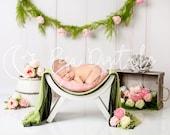 White curved chair digital backdrop newborn, Spring digital background, Newborn photography vintage floral backdrop, Flower digital backdrop