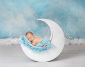 Newborn Digital Backdrop, White Moon with blue background, Natural Backdrop, Newborn, Moon Backdrop, Wood, Moon, White Natural Moon