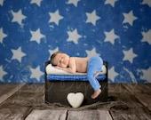 Stars and Bed Digital Backdrop, Wooden Bed Digital Background, Newborn Digital Backdrop Boy, America Flag Stars, Patriotic Background