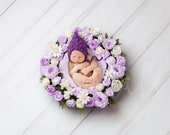 Purple floral nest Newborn digital backdrop, Digital background flower, Boy and Girl Digital photography backdrop, Newborn Flower Backdrop