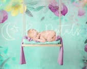 Digital newborn backdrop wooden swing Natural swing newborn digital background Newborn photography backdrop swing Flower digital backdrop