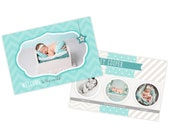 Turquoise blue newborn birth announcement template, newborn baby announcement card