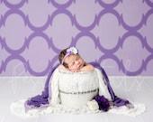 Purple theme newborn digital backdrop with white bucket