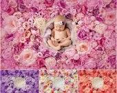 Flower wall Digital Backdrop Bundle, Floral Newborn Backdrop Bundle, Natural Rose flower photography background