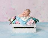 Spring Theme Digital Backdrop Newborn Background White Bucket, Flower Background, Wooden box photo prop Infant backdrop