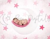 Digital Backdrop With Stars, Newborn Digital Backdrop, White Moon Backdrop, Natural Backdrop, Newborn, Moon Backdrop, Backdrop With Stars