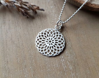 Mandala Necklace 925 Silver Gift