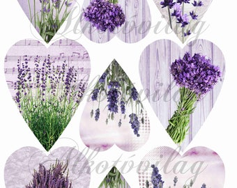 Lavender, flower, heart patterned felt sheet (or textile block) - 20 x 30 centimeter  ( 7.8 in x 11.8 in)
