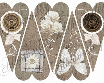 Rustic rose, butterfly, flower, vintage heart patterned felt sheet (or textile block) - 20 x 30 centimeter  ( 7.8 in x 11.8 in)